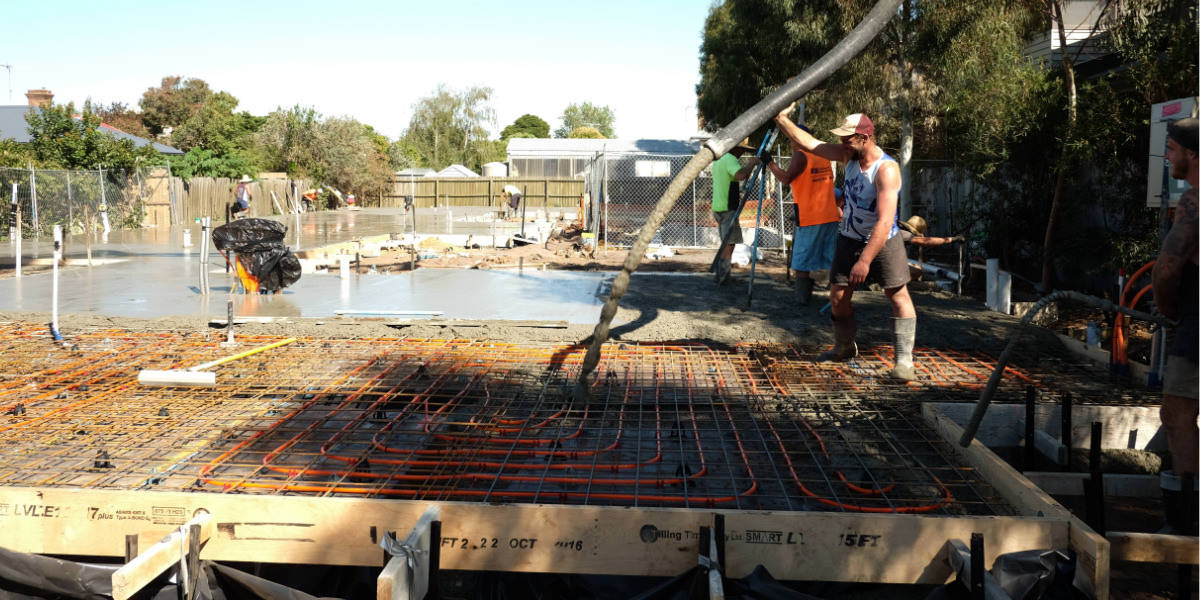 Geelong Constructions at work - concrete pour